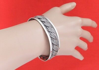 Vintage 925 Sterling Silver & Oxidized Filigree Patterned Cuff Bangle