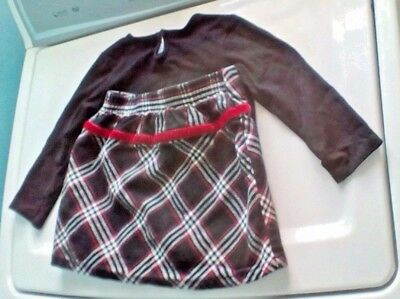 "Old Navy Little Girl""s Two-Piece Set Long Sleeve Top and Plaid Skirt Size 2T"