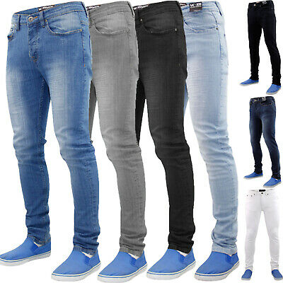 Mens Skinny Jeans Stretch Flex Slim Fit Denim Men Trousers Pants Blue All Waist