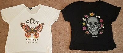 Obey Womens Reincarnation Skull and Butterfly Effect shirt lot Large L  NEW NWOT