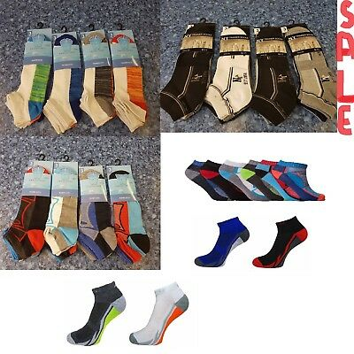 3,6,12 Pairs Mens Trainer Socks Fresh Feel Cotton Rich Blend Ankle Invis Socks