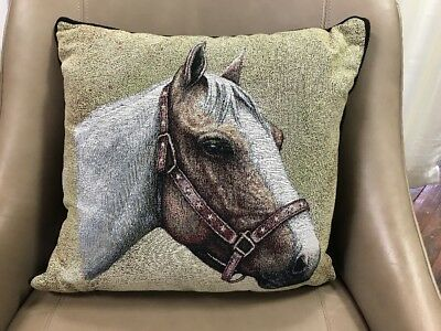"""Pinto Horse head white brown Woven Cotton Tapestry Accent 17"""" Throw Pillow NEW"""