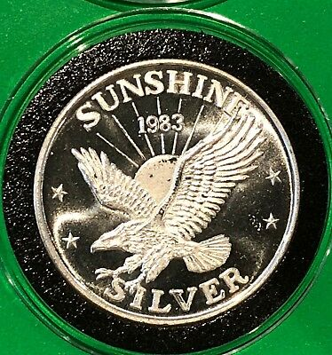 1983 Sunshine Mining Eagle Collectible Coin 1 Troy Oz .999 Fine Silver Round 999