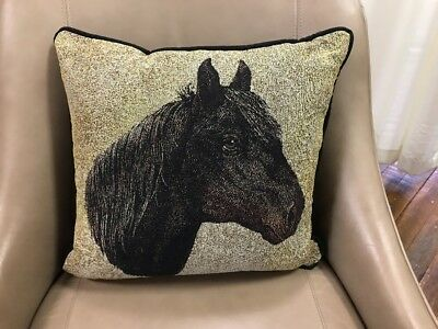 """Morgan Horse head Jacquard Woven Cotton Tapestry Accent 17"""" Throw Pillow NEW"""