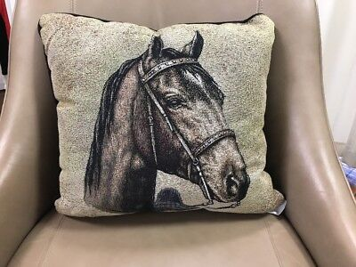 """Tennessee Walking Horse head Woven Cotton Tapestry Accent 17"""" Throw Pillow NEW"""