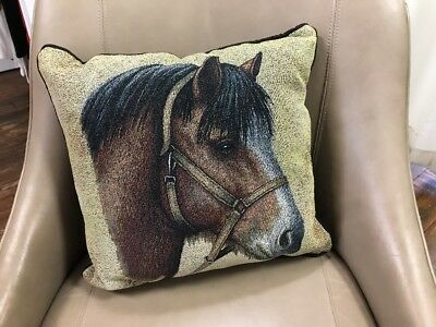 """Clydesdale draught Horse head Woven Cotton Tapestry Accent 17"""" Throw Pillow NEW"""