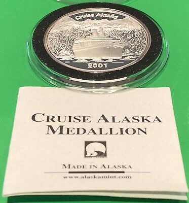 2001 Cruise Alaska Mint Proof Coin & COA 1 Troy Oz .999 Fine Silver Round Medal