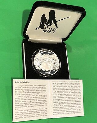 2005 Cruise Alaska Mint Proof Coin & COA 1 Troy Oz .999 Fine Silver Round Medal