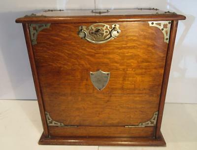 Antique c1910 Oak Stationery Cabinet with Writing Slope Secret Compartment & Key
