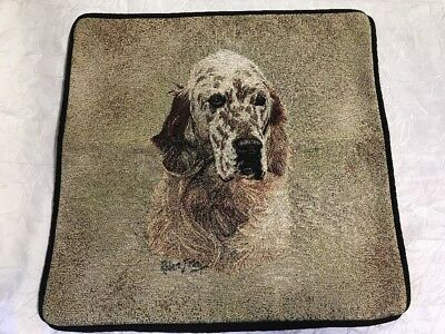 "English Setter Dog head portrait Zippered 17"" Pillow COVER Cotton Tapestry NEW"