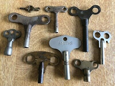 Used Various Vintage Steel & Brass Clock Keys Smiths Newbridge Bath Etc