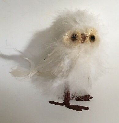 Owl Ornament Real Feathers White Baby Owl Christmas Tree Decoration