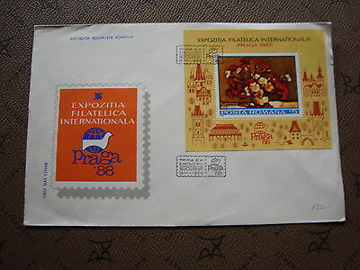 ROMANIA envelope 26/8/88 -stamp Yvert and Tellier bloc n°194 (cy2)
