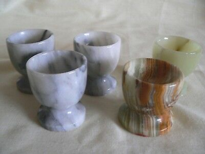5 Vintage Assorted colours Marble/Onyx/Agate? Collectable egg cups