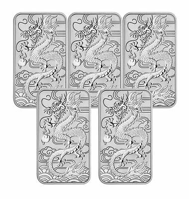 Lot of 5 - 2018 $1 1oz Silver Australian Bullion Dragon Rectangular Coin (Bar)