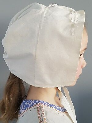 Vintage girls nightcap handmade cream cotton