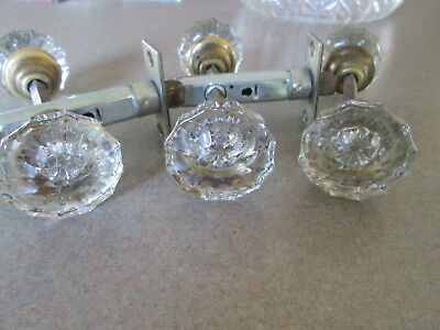 Vintage Antique 12 Point (6) Glass Door Knobs BRASS Three Sets with Spindle Bar