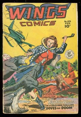 Wings Comics #102 1949-Fiction House-Wolf Attack-Gga Vg