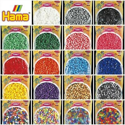 Genuine Hama Fuse Beads 1000 Pack for Pegboards FULL COLOUR RANGE Assorted Mix