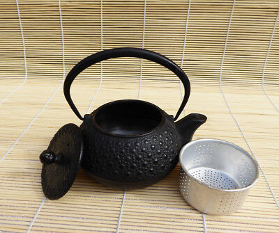 #165 Small Japanese Cast Iron Tetsubin with Insert, Teapot, Honeycomb Pattern