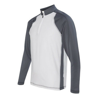 adidas Men's ClimaWarm 1/4 Zip Colorblocked Training Top White/Lead/Black XL