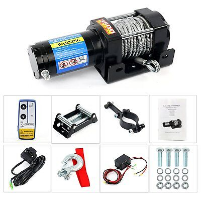 3500lbs Wireless Remote Electric Cable Winch 12V ATV Boat with Roller Fairlead