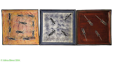 3 Stone Plates Kisii Lizards Square Kenya Africa 10 Inch