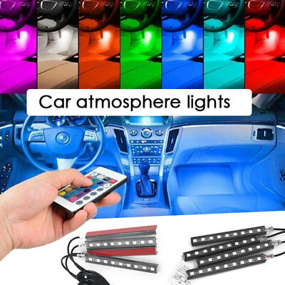 Rgb Remote Durable Universal Car Decoration Light 4 X 9LED Light Strip Floor