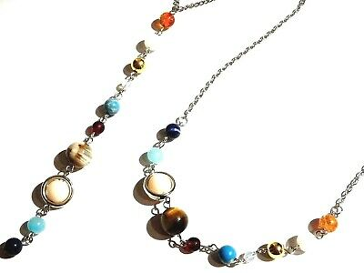 SOLAR SYSTEM BEADED NECKLACE gem stone chakra space planets astrology science 5H