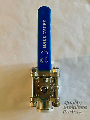 """1.5"""" Tri Clamp Stainless Steel 304 3 Piece Ball Valve"""