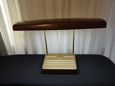 Vintage Art Deco Fluorescent Desk Lamp Light Tan Color 1960u0027s
