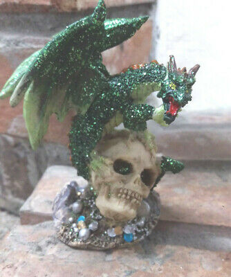Dragon Statue Dragon Standing On Skull Green Dragon Sparkles 4 Inches Tall 11 99 Picclick