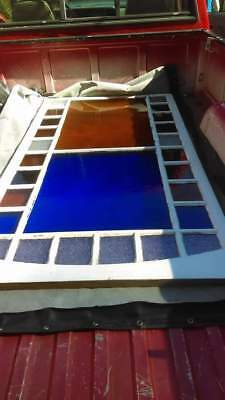Huge Vintage Stain Glass Window Church Victorian 68 x 36 Inches