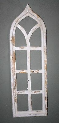 """Wooden Antique Style Church WINDOW Frame Primitive Wood Gothic 38"""" Shabby"""
