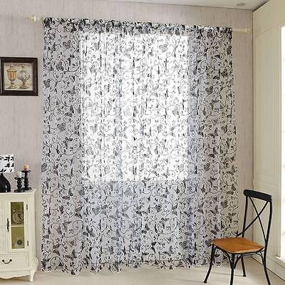 Voile Curtain Solid Tulle Sheer Butterfly Drape Panel Window Scarf Valance 1PC
