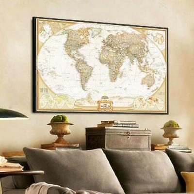 Vintage Retro World Map Antique Paper Poster Wall Chart Mural Bedroom Home Decor