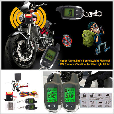 2Way LCD Motorcycle Alarm Remote Engine Start Anti-theft Security System Scooter