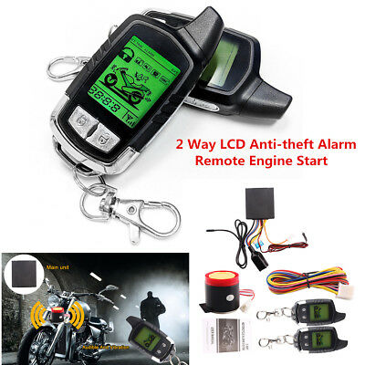 2 Way Motorcycle Alarm Security System LCD Remote Engine Starter Anti-theft Kit