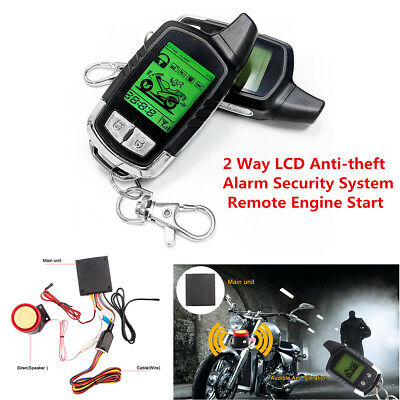 2 Way Motorcycle Alarm Security System with Remote Engine Starter LCD Remote Fob