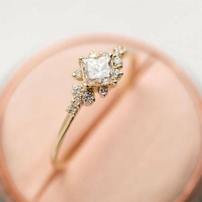 Tiny Crystal Ring Gold Color Ring Dainty Ring Stackable Ring For Women Size 6-10