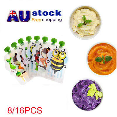 AU 8/16pcs Reusable Food Food Pouches Baby Feeding Squeeze Storage Sealed Bags