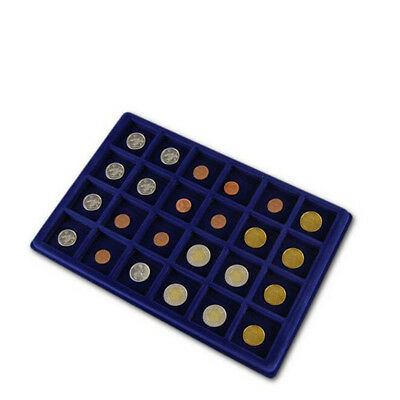 Blue Display Tray (24 Grids) Storage Case For 45mm Cardboard Coin Holders Flips