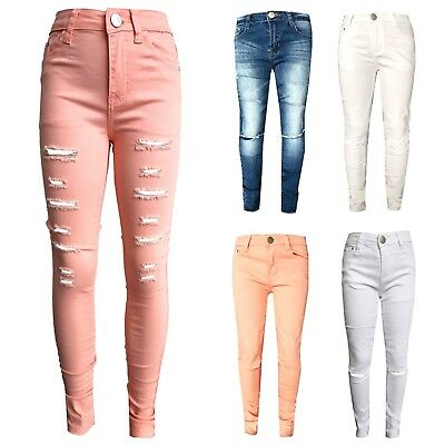 Kids Girls Stretchy Jeans Ripped Skinny Pants Denim Jeans  Jeggings 5-12 Years