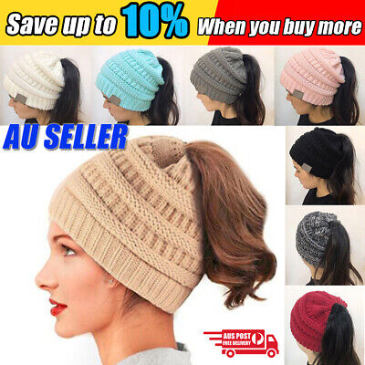 Women Girls Ponytail Beanie Winter Soft Stretch Cable Knit Crochet High Bun Hat