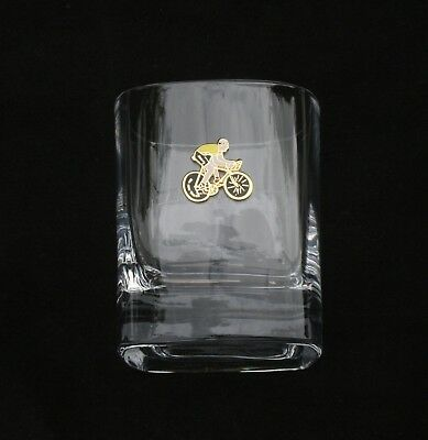 Cyclist Enamel Pair of Crystal Tumblers Pewter Motif Presentation Box Gift
