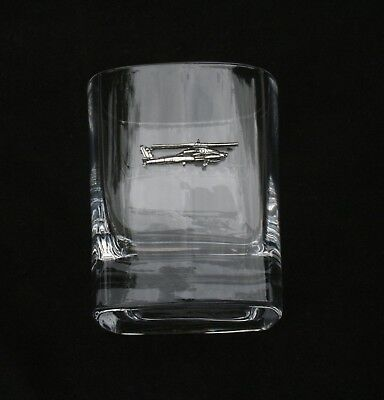 Helicopter Pair of Crystal Tumblers Pewter Motif Presentation Box Military Gift