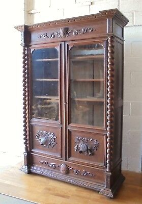 Large Antique French Solid Oak Carved Glazed Bookcase With Drawer Art & Music
