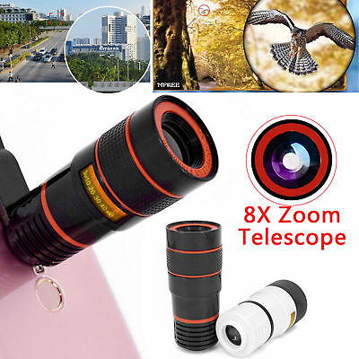 1Set HD 8X Optical Zoom Clip-on Telescope Camera Lens For Universal Mobile Phone