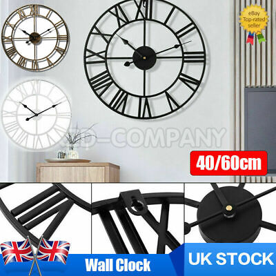 60Cm Extra Large Roman Numerals Skeleton Wall Clock Big Giant Round Open Face Uk