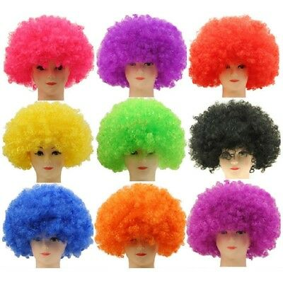 Unisex Afro Curly Wig Fancy Clown Disco Funny Funky Colour Wigs Dress Party New